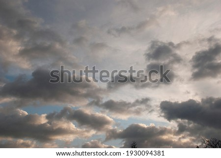 cloudy sky with rare dark gray clouds with threat of rain Photo stock ©