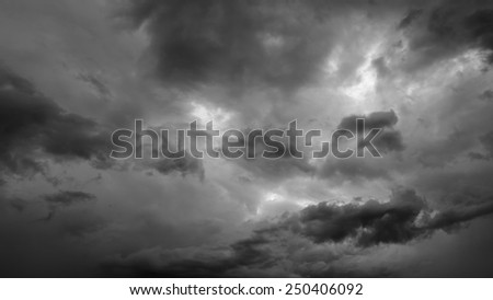 Cloudy stormy black and white dramatic sky background
