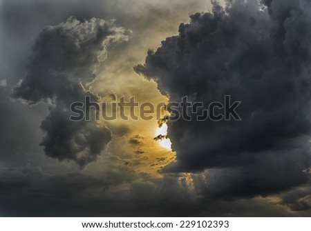 cloudy stormy  dramatic sunset...