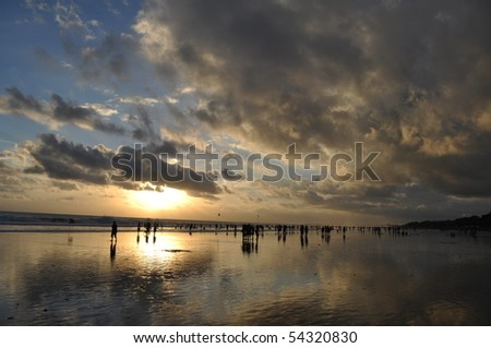 Cloudy sunset over Bali Beach