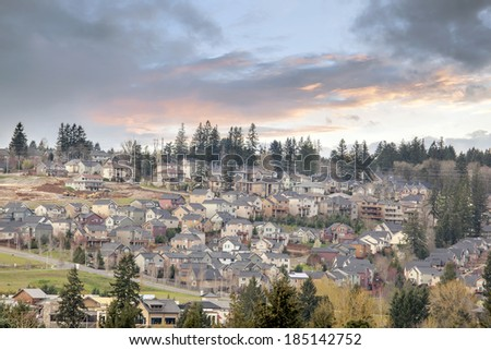Cloudy Sunset Over USA North America Suburban Residential New Subdivision in Happy Valley Oregon