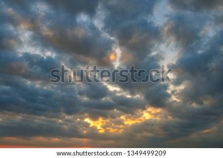 Cloudy Sunset Sunrise Sky #1349499209