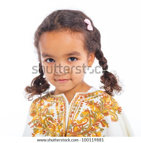 Clouseup portrait of cute little mulatto girll on white background