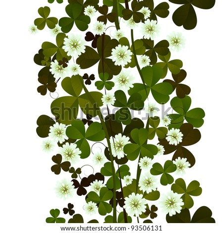 Clover leaves and flowers seamless tile on white. - stock photo