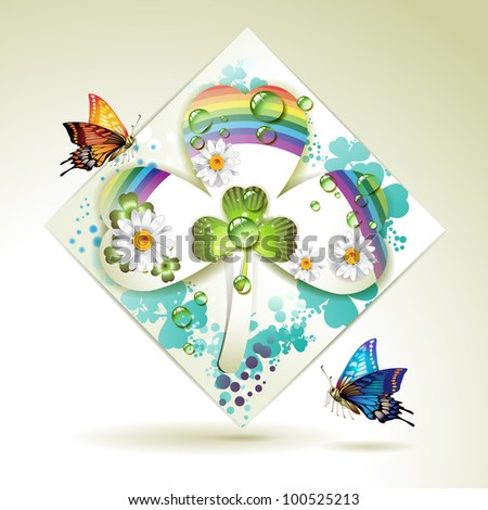 Clover over decorative shapes of paper and colored abstract background with butterflies
