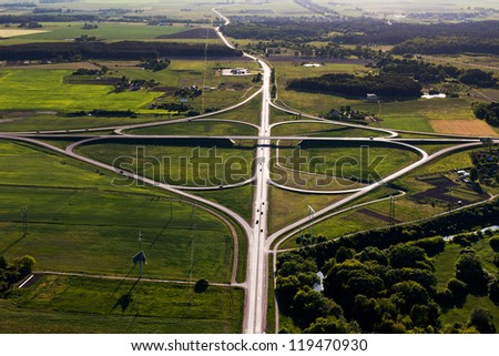 Clover overpass, view from above, Lithuania