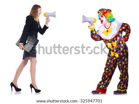 Clown and businesswoman with loudspeakers isolated on white