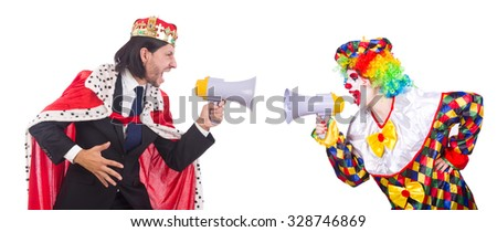 Clown and king with loudspeakers isolated on white