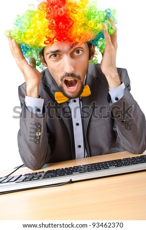 Clown businessman isolated on the white