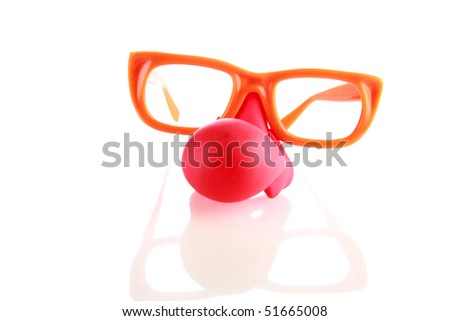 clown glasses with red nose on white with reflections