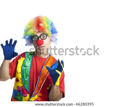 Clown male with funny glasses on white isolated with extra white space - stock photo