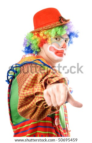 Clown points his finger. Isolated on white