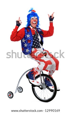 Clown riding a unicycle with training wheels