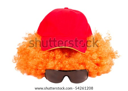 Clown set: red hair, cap and glasses