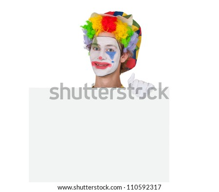 Clown showing white billboard - isolated