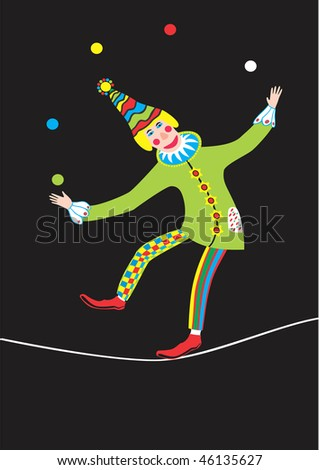 Clown stands on rope and juggles with balls