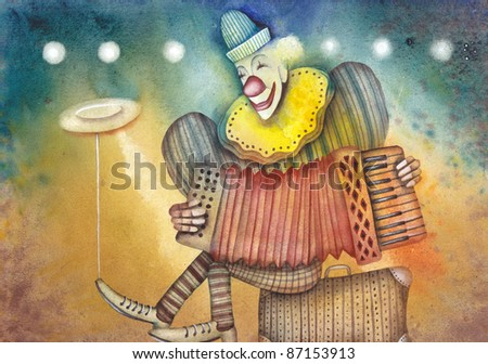 Clown with accordion