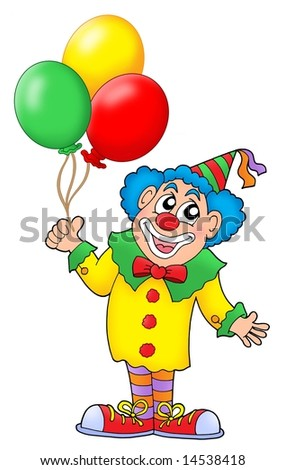 Clown with colorful balloons - color illustration.