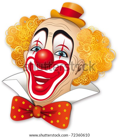 Clown with red hair on a white background - stock photo
