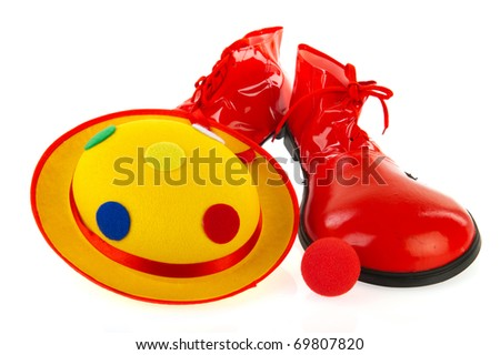 Clowns equipment with hat shoes and red nose