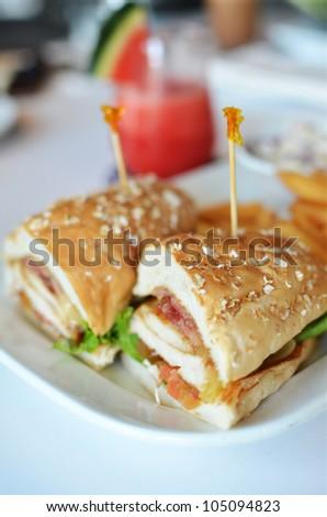 Club sandwich chicken burger with ham - stock photo