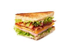 Club sandwich slice on white