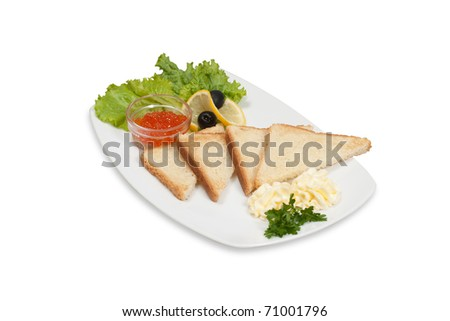 club sandwich with caviar on a plate isolated on a white background