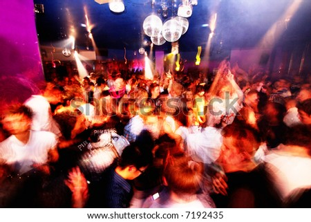 Club shot of a busy rave scene