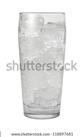 Club Soda Water Isolated with clipping path on a white background