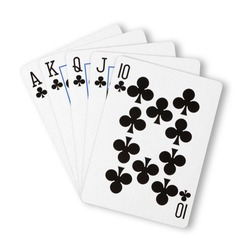 Clubs royal flush flat on white winning hand business concept