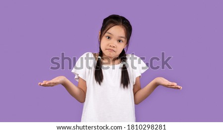 Clueless Korean Girl Shrugging Shoulders Looking At Camera Standing Over Purple Studio Background. I Don't Know. Panorama