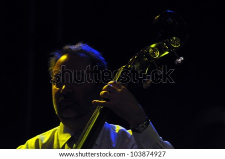 CLUJ NAPOCA, ROMANIA � MAY 29: Phil Baker form Pink Martini pop-jazz band performs live on double bass at the Sports Hall of Cluj, Romania, MAY 29, 2012 in Cluj-Napoca, Romania