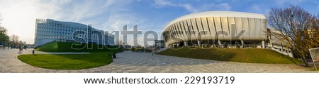 CLUJ-NAPOCA, ROMANIA - 6 NOVEMBER 2014: Cluj Arena stadium and Cluj Sports Hall in Cluj-Napoca, Romania on a sunny autumn day A modern football and sports arena and hall in The Heart of Transylvania