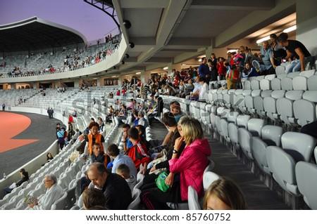 CLUJ NAPOCA, ROMANIA - OCTOBER 1: Grand opening of Cluj Arena the largest soccer stadium in Transylvania. The UEFA Elite 31,000 seat stadium was open for visiting on October 1, 2011 in Cluj Napoca, Romania