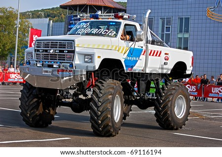 CLUJ-NAPOCA, ROMANIA - SEPT. 25 Monster Truck Madness Presentation and demonstration on Sept 25, 2009 at Ursus Alcohol Free Track Challenge in Cluj Napoca, Romania - stock photo