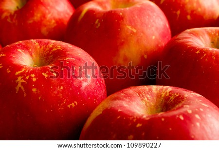 Cluster bright red apples