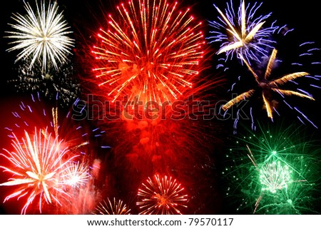 Cluster of colorful festive fireworks