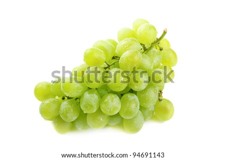 Cluster of fresh grape on the white