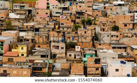 cluster of houses in brazilian slum. Favela