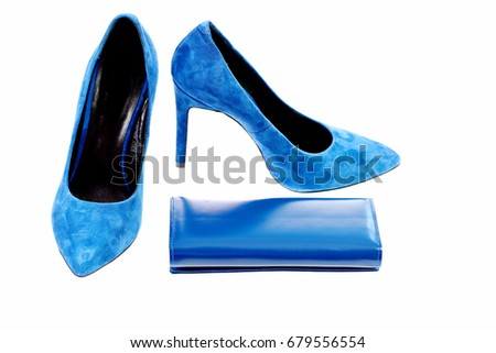 e0fd3ad0d21 Clutch and female footwear. Purse and high heeled suede shoes in dark blue  color.