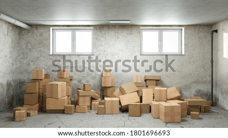 Clutter and chaos in the basement or storage room with lots of messed up boxes (3D Rendering) Foto stock ©