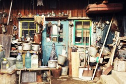 cluttered yard, Bukovina, Chernivtsi region, village Baniliv-Podgorny