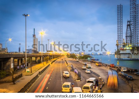 CMS Bus Stop, Outer Marina, Lagos Island, Nigeria at Dusk #1164665566