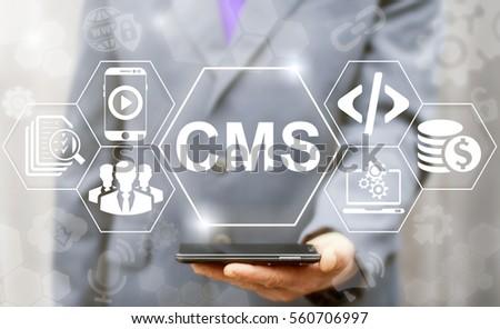 CMS business web computer website administration concept. Content management system SEO network internet technology