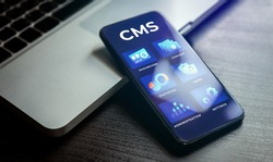 CMS - Content management system concept. Website management cms software for publishing content, seo optimization, administration, user rights settings, site configuration and cms statistics