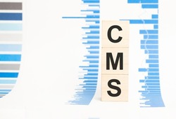 cms sign on wooden cubes concept, wooden cubes.