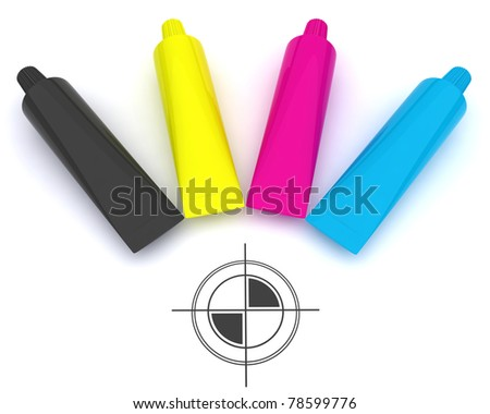 CMYK and poly graphic cross - stock photo