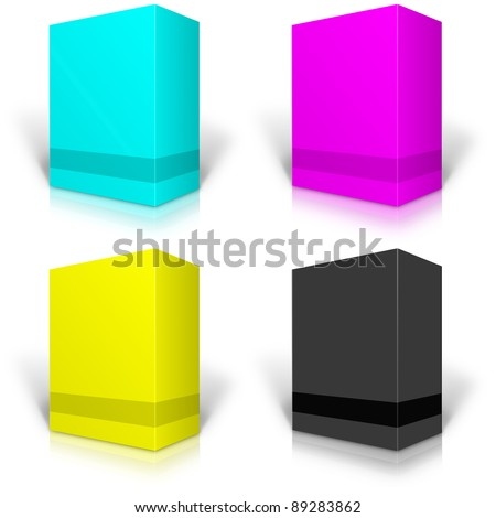 CMYK blank box isolated on white background ready to be personalized by you.