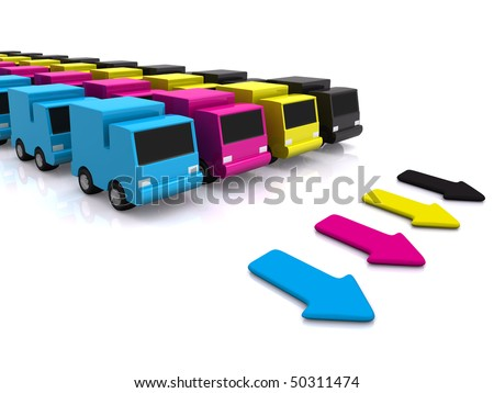 CMYK cars with arrows. 3D