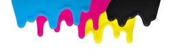 CMYK Color flowing down as symbol for creativity and design